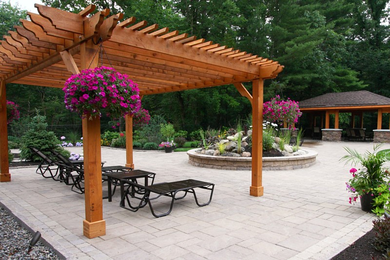The roof may be made of angled battens, shade cloth, thatch or plants.  Typically, pergolas are rectangular in shape, but hexagonal, circular or  square ... - Pergolas, Pergola Schenectady, Slingerlands, Loudonville, NY